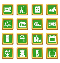 Household appliances icons set green vector