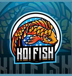 Koi fish esport mascot logo design vector