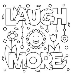 laugh more coloring page vector image