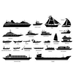 List different type water transportation vector