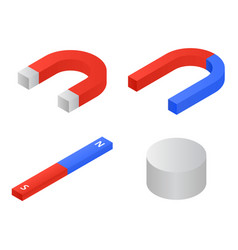 Magnet icons set isometric style vector