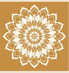 Mandala line a symmetrical white round vector