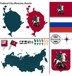 map federal city moscow vector image