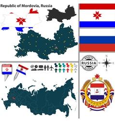 Map of Republic of Mordovia vector image