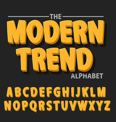 Modern bold font and alphabet font with shadow vector