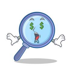 Money eye magnifying glass character cartoon vector