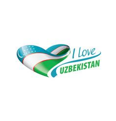 National flag uzbekistan in shape a vector