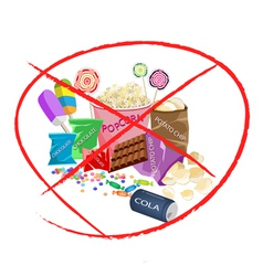 No Eat Sweet Drinks and Sweet Snack vector image vector image