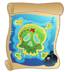 old parchment with pirate map vector image