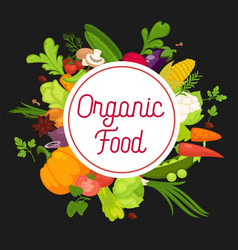 Organic food advertisement banner with fresh vector