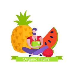 organic fruits banner natural eco food choice vector image