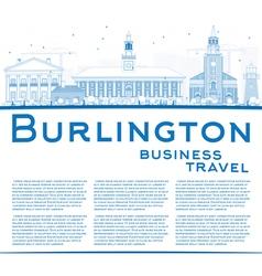 Outline burlington vermont city skyline vector