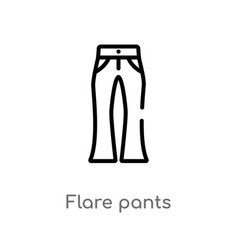 outline flare pants icon isolated black simple vector image