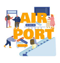 people in airport concept characters prepare vector image