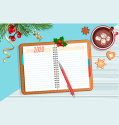 planning 2020 year with christmas accessories vector image
