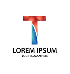 polygonal initial t with logo vector image