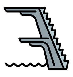 Pool jump tower icon outline style vector