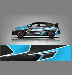 Racing car wrap design sedan hatchback and sport vector