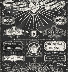 set calligraphic design elements on blackboard vector image
