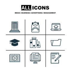 Set of 9 school icons includes taped book paper vector