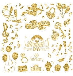 Set of gold signs for Valentines Day design vector