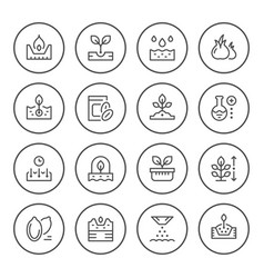 Set round line icons seed and seedling vector