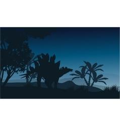 Silhouette of one stegosaurus in fields vector