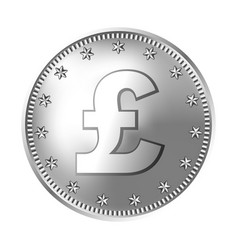 Silver great britain pound sterling coin england vector