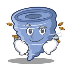 Smirking tornado character cartoon style vector