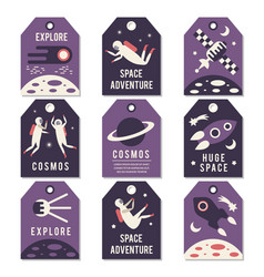 Space theme cards vector