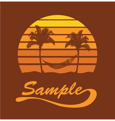 Summer t-shirt design with palm trees vector