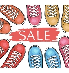 Summer trendy sports shoes Sale of sneakersTo vector