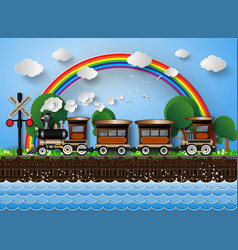 Train on a background of rainbow vector
