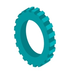 Tridimensional silhouette blue gear wheel icon vector