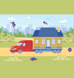 Truck hauling little house on road with buildings vector