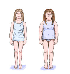 Two girls fat and slim full color sketch vector