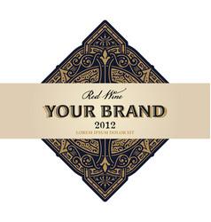 vintage wine label with floral frame vector image