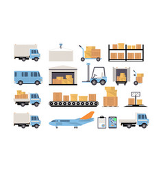 warehouse and logistic set shelves with goods vector image