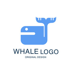 whale logo original design emblem with blue whale vector image