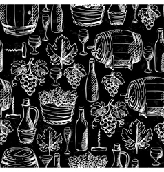 Wine seamless pattern drawn by chalk vector image