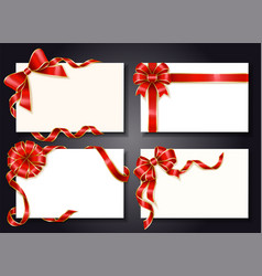 Wrapped gift cards with festive ribbons and bows vector