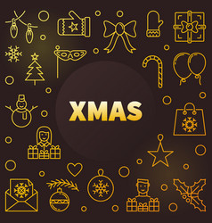 Xmas modern golden line vector
