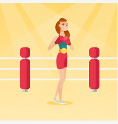 young caucasian confident boxer in the ring vector image vector image