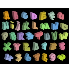 3D graffiti color fonts alphabet and number over b vector image vector image