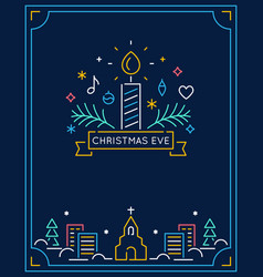 candle and ornaments winter town and church vector image vector image