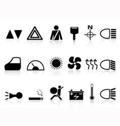 car dashboard icons set vector image
