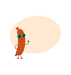 cute and funny sausage character in sunglasses vector image vector image