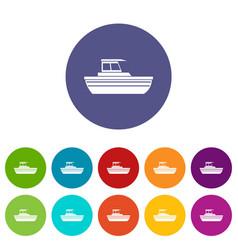 Motor boat set icons vector