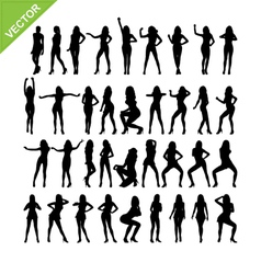 Sexy women and dancing silhouettes vector image