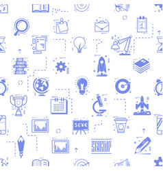 start up seamless pattern business icons linear vector image